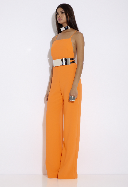 DISCIPLINE DUNGAREE JUMPSUIT ORANGE POPSICLE-2