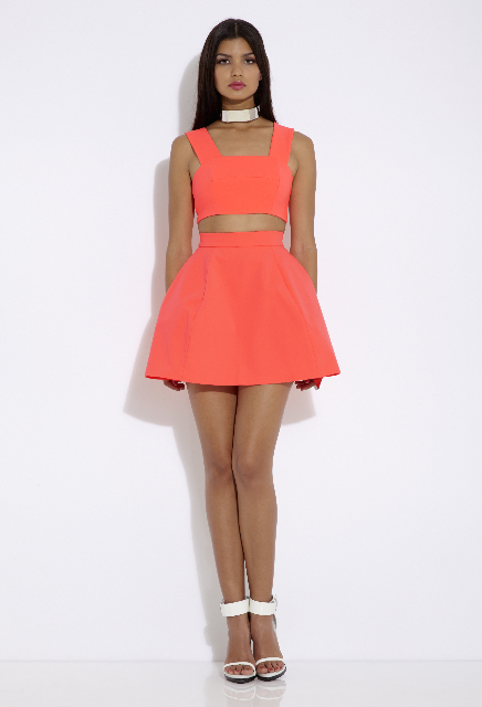 MANIC BODICE PINK GRAPEFRUIT SHADE MINI SKIRT PINK GRAPEFRUIT-1