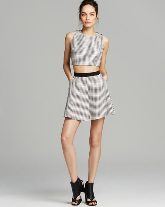 A cutting-edge crop top in optic black-and-white makes a major statement paired with a matching skirt - Top / $48 Skirt / $58