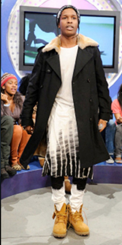 A$AP Rocky wore this tie-dye dress/shirt on BET's 106th & Park. It is indeed actually a long shirt made by European mens designer
