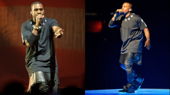Kanye West performs in leather kilt in 2012