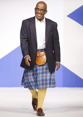 "NBC's Al Roker walked in Sean Connery's ""Dress to Kilt"" charity fashion show in 2012"