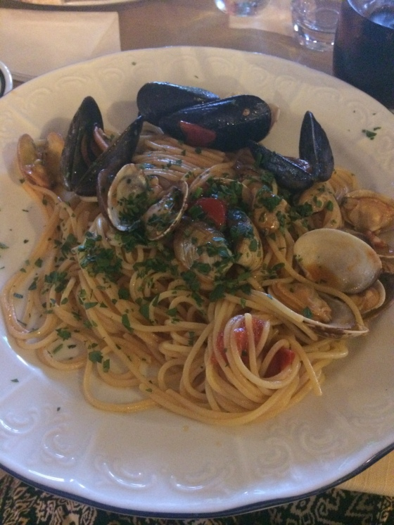 Fresh Local Seafood Pasta with a light dressing… yummm