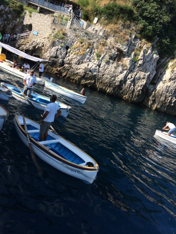 The small row boats we took into the Grotto