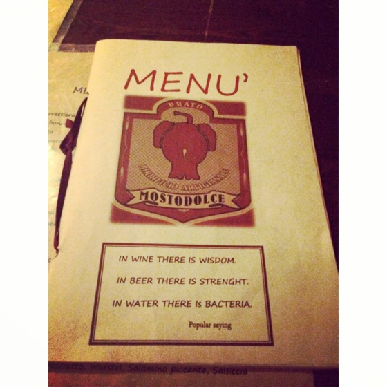 I love the Mostodolce menu… Obviously the person writing the menu was very strong!