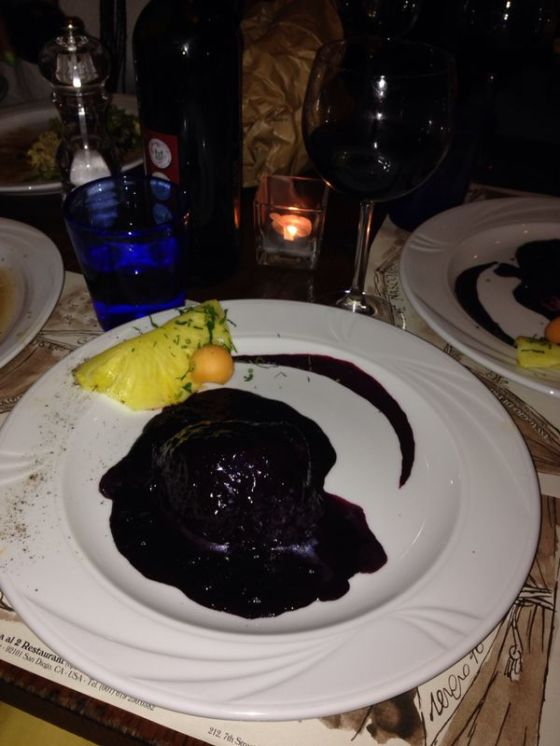 The blueberry steak at Acqua al Due