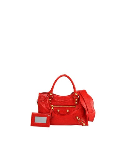 BALENCIAGA GIANT 12 CITY MINI BAG, RED