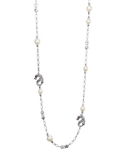 JOHN HARDY BATU NAGA SILVER SAUTOIR NECKLACE WITH FRESH WATER PEARLS