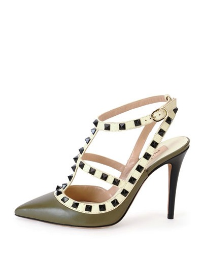 VALENTINO ROCKSTUD PUMP IN ARMY GREEN