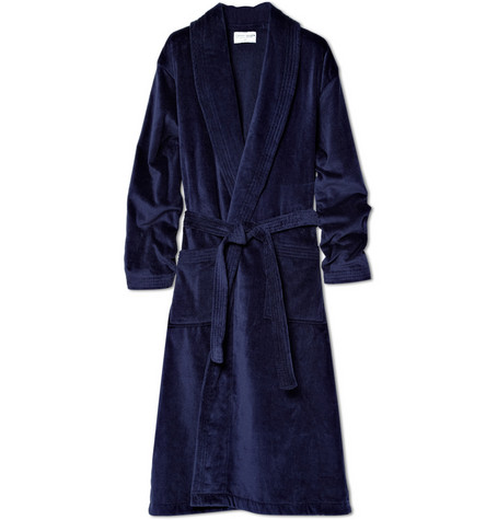 DEREK ROSE COTTON-TERRY BATHROBE $220