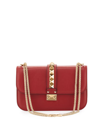 Valentino  Lock Rockstud-Trim Flap Bag, Red $2,345
