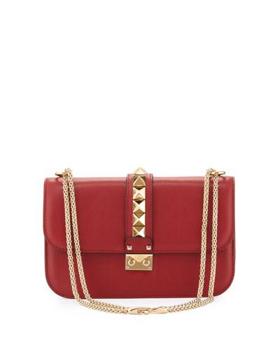 Valentino  Lock Rockstud-Trim Flap Bag, Red $2,345