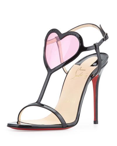 Christian Louboutin Cora Heart Red Sole Sandal, Black/Pink $845
