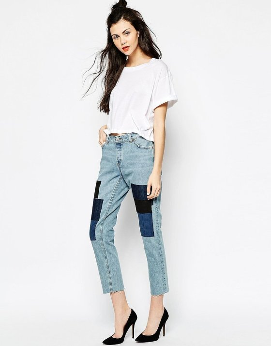 Monki Ikmo Slim Girlfriend Patchwork Jean