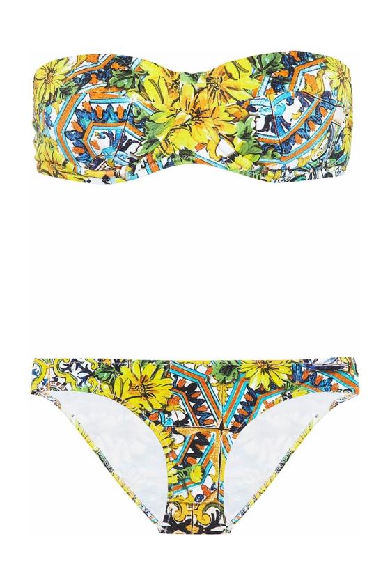 Dolce & Gabbana Printed Underwired Bandeau Bikini, $215; theoutnet.com