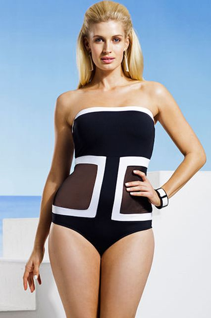Anne Cole Plus Size Black Mesh Bandeau Swimsuit, $49; swimsuitsforall.com