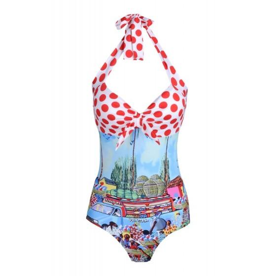 STELLA JEAN Printed Halter Swimsuit, $410; shop.harpersbazaar.com