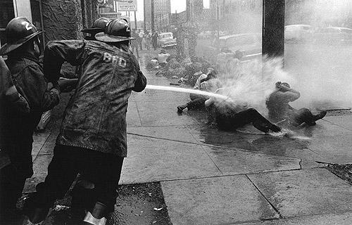 Fire hoses aimed at Demonstrators, Birmingham, Alabama, 1963