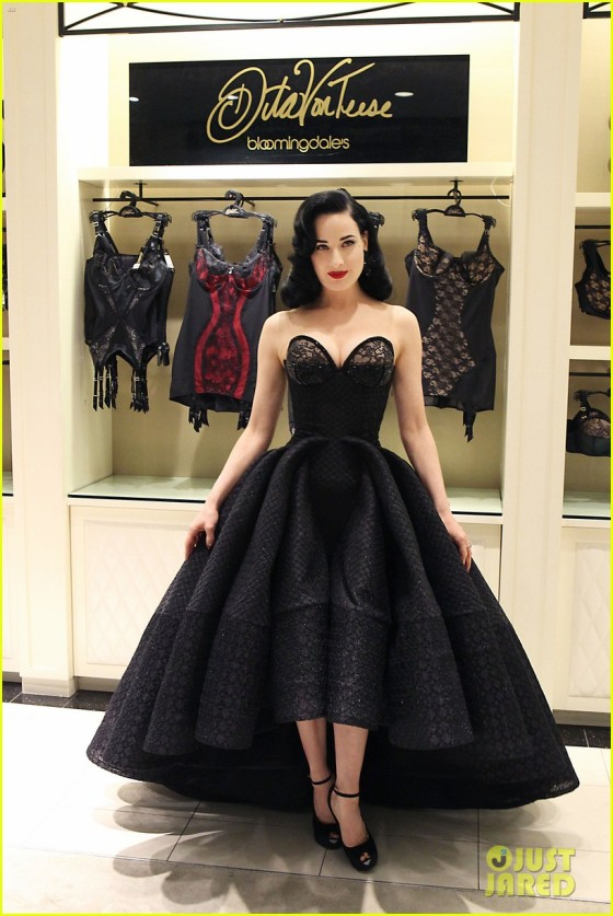 Dita Von Teese unveils her new lingerie collection at Bloomingdale's in NYC. Pictured: Dita Von Teese Ref: SPL721756  200314   Picture by: Jennifer Mitchell / Splash News Splash News and Pictures Los Angeles:310-821-2666 New York:	212-619-2666 London:	870-934-2666 photodesk@splashnews.com