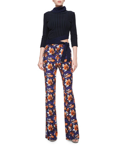 Risto / Angled Tie-Waist Ribbed Sweater $495.00 Risto / Leaf-Print High-Waist Flared Pants $575.00
