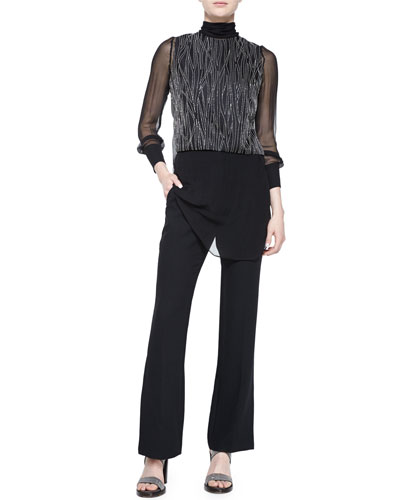 Brunello Cucinelli Monili-Chain Embroidered Top, Black $2,495.00 Brunello Cucinelli Flare-Leg Pants w/Ankle Slit, Black $1,400.00