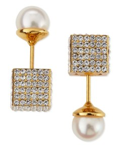Vita Fede Pave Crystal Cube & Pearl Earrings $775.00